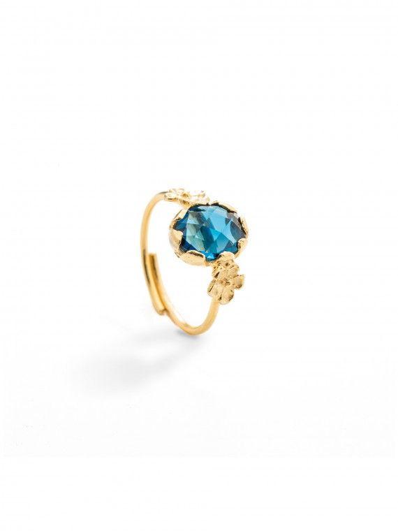 Anel miosótis pedra pequena | Prata dourada