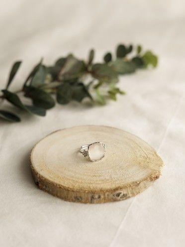 Anel miosótis pedra quadrada   Prata