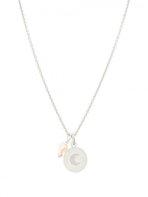 Fio pérola + medalha pequena | Lua gravada