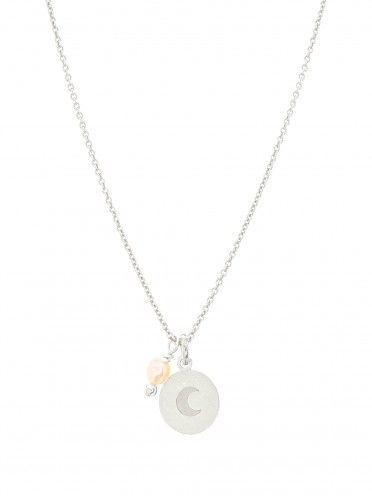 Fio pérola + medalha pequena   Lua gravada