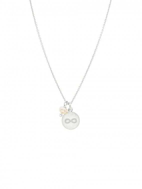 Fio pérola + medalha pequena | Infinito gravado