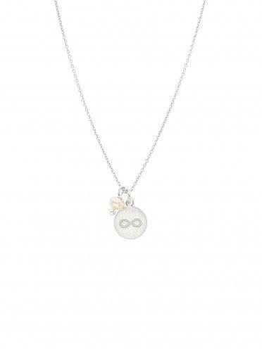 Fio pérola + medalha pequena   Infinito gravado