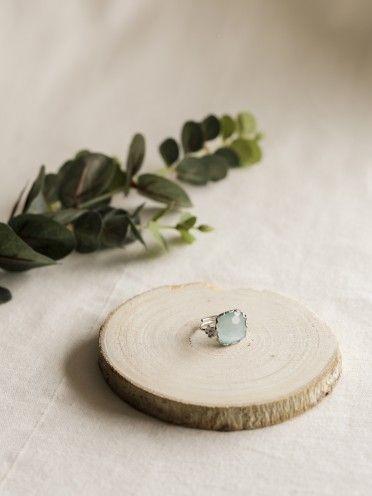 Anel miosótis pedra quadrada | Prata