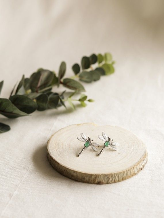 Brinco libelinha prata + esmalte