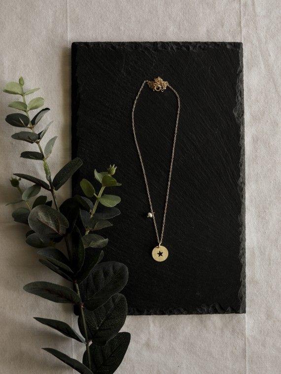 Fio 1 pérola + medalha | Estrela recortada