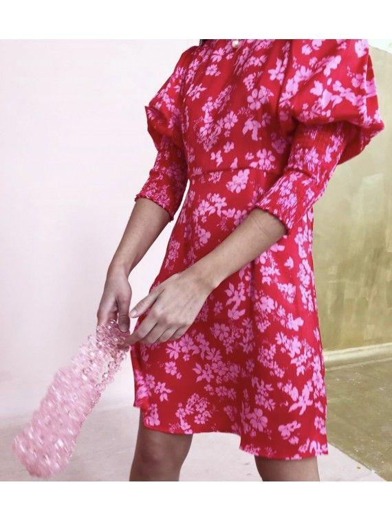 Vestido Vermelho Com Flores Rosa