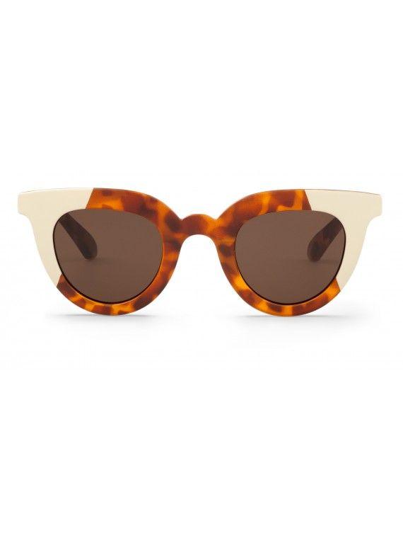 Óculos Hayes creme com padrão leopardo e tartaruga