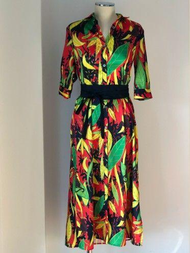 Vestido Padrão Tropical