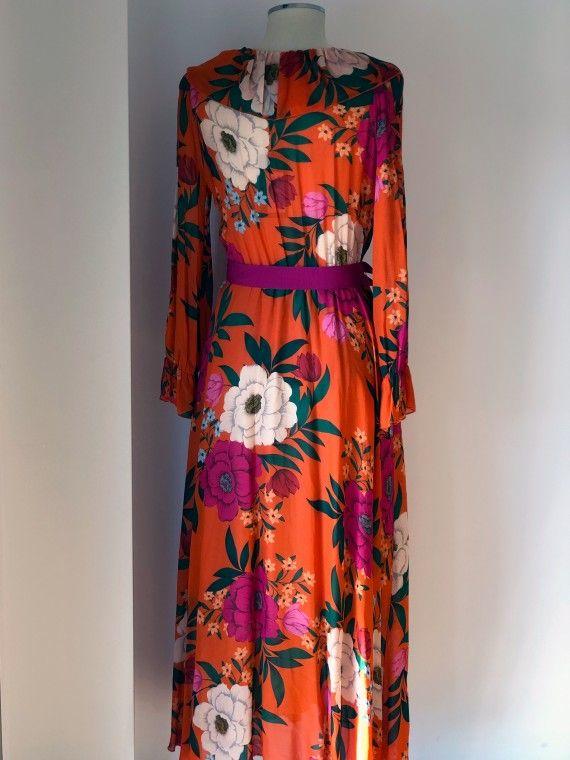 Vestido Laranja Com Padrão Floral E Cinto