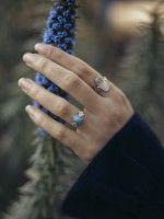 Anel miosótis pedra pequena | Prata