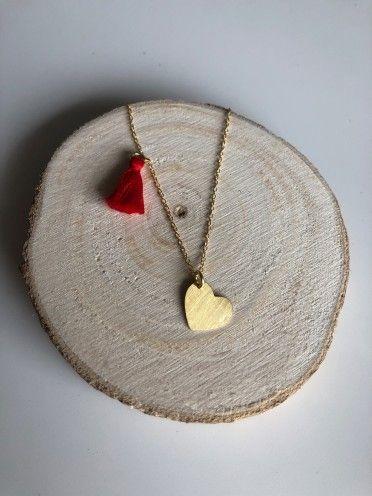 Fio pompom + medalha prata dourada | Coração gordinho