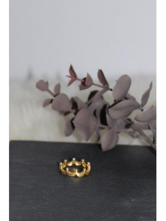 Anel Coroa Efeito Baço
