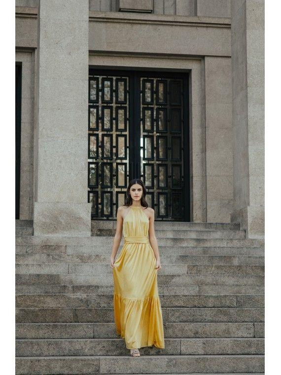 Vestido amarelo cinto franzido e folho no fundo