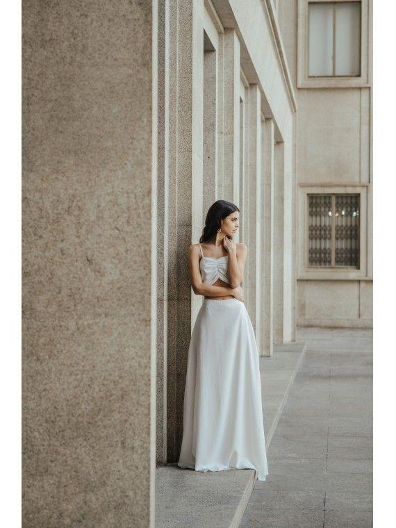 Vestido branco viés com peito franzido