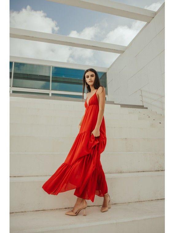 Vestido vermelho fluido de amarrar atrás
