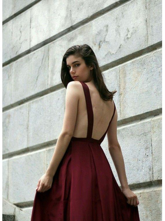 Vestido Comprido Bordeaux
