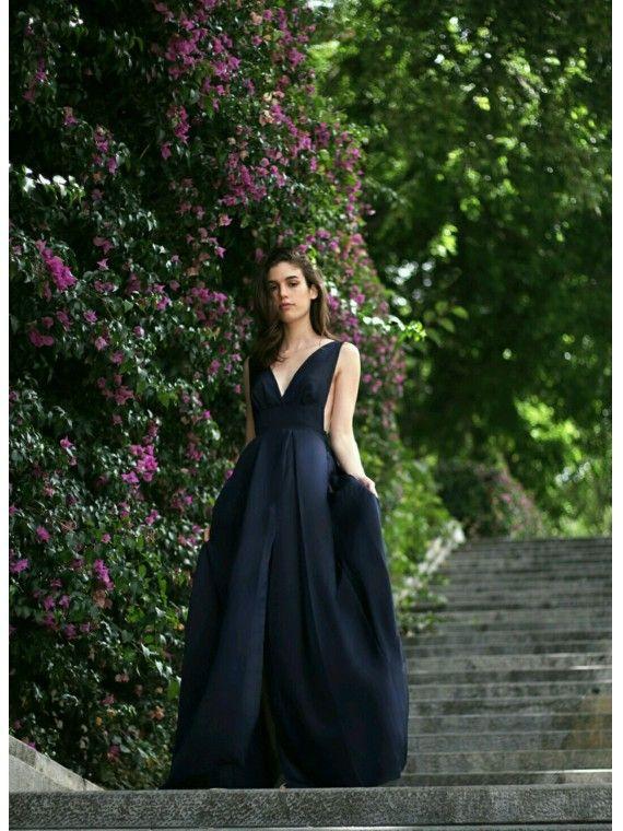 Vestido Comprido Azul Marinho