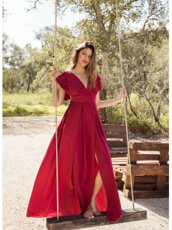 Vestido Cereja Com Folhos