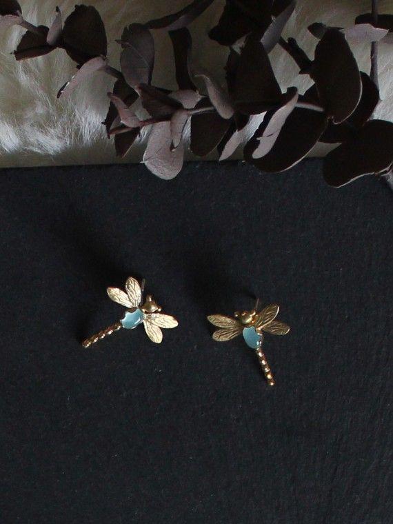 Brinco libelinha prata dourada + esmalte