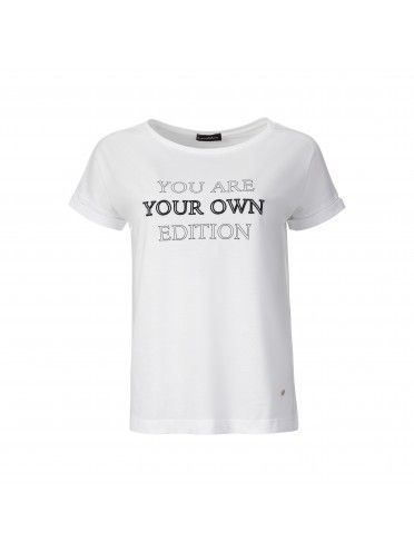 T-SHIRT WITH EMBROIDERED SLOGAN