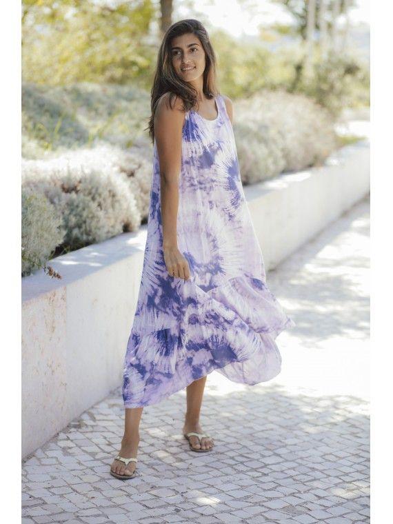 Vestido efeito tie dye com folho