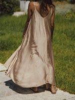 Vestido comprido acetinado