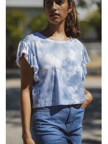 T-Shirt Tie Dye com manga folho