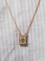 Escapulário | Medalha quadrada madrepérola + N. Senhora