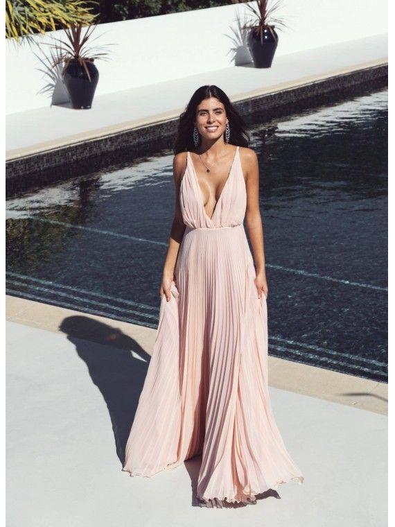 Vestido Longo Rosa plissado