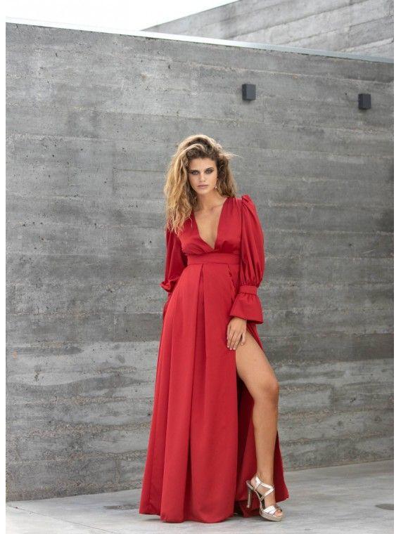 Vestido Vermelho Manga