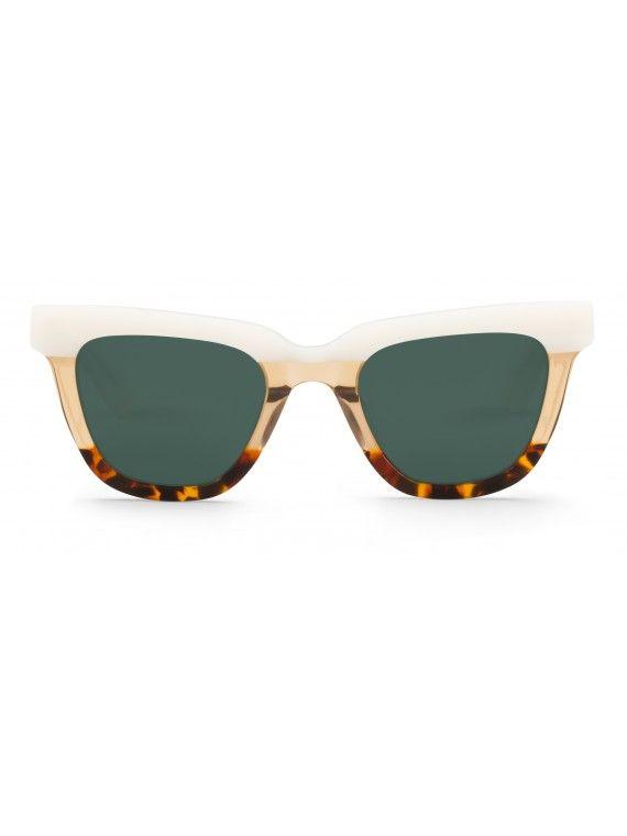 Óculos Letras creme com padrão tartaruga e leopardo