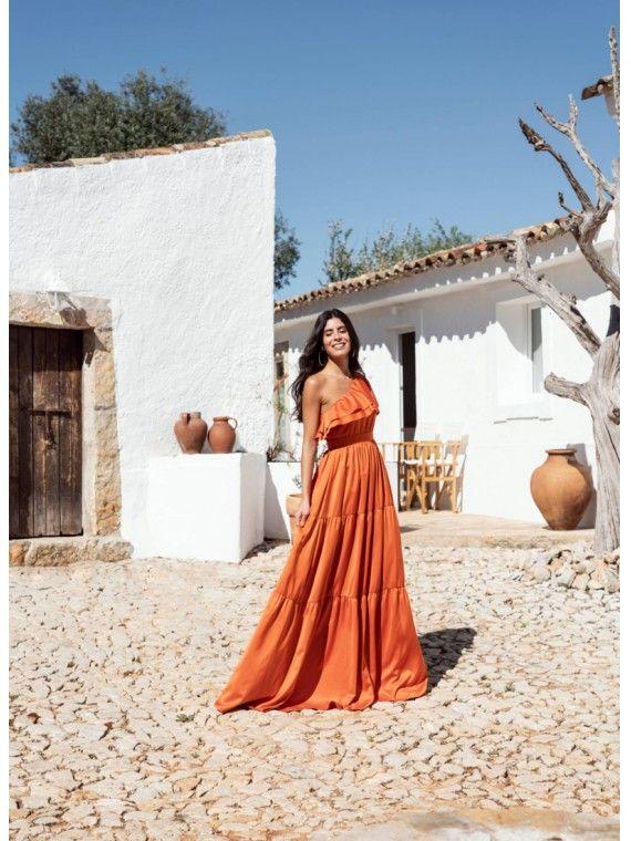 Vestido laranja folhos
