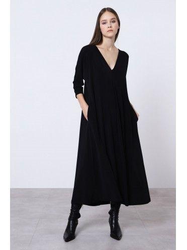 Vestido comprido c/ bolsos e corrente