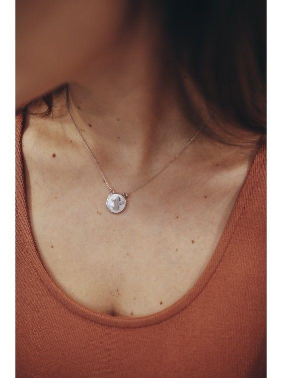 Fio medalha redonda madrepérola | Anjinho