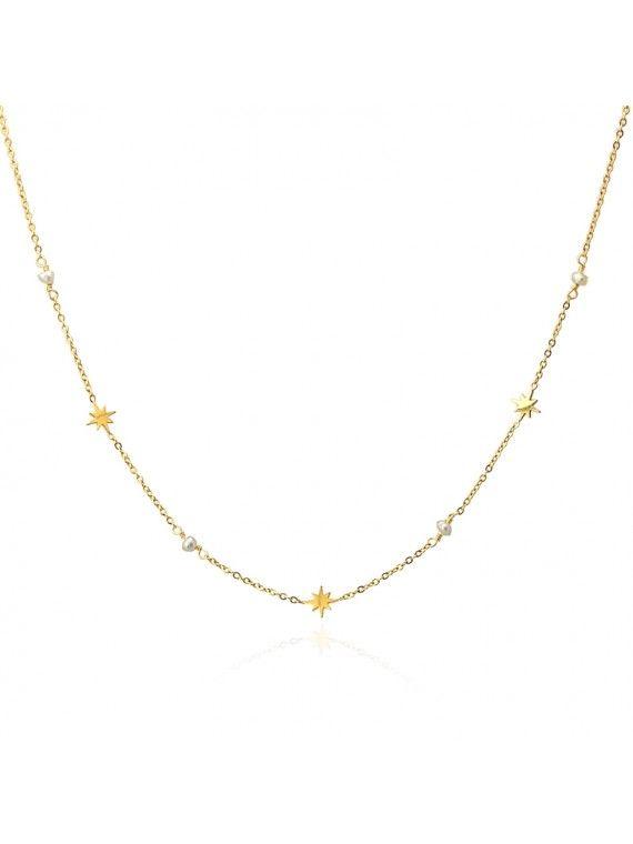 Fio Dourado com Estrelas Polar e Pérolas