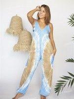 Macacão Longo c/ padrão tie dye e alças ajustáveis