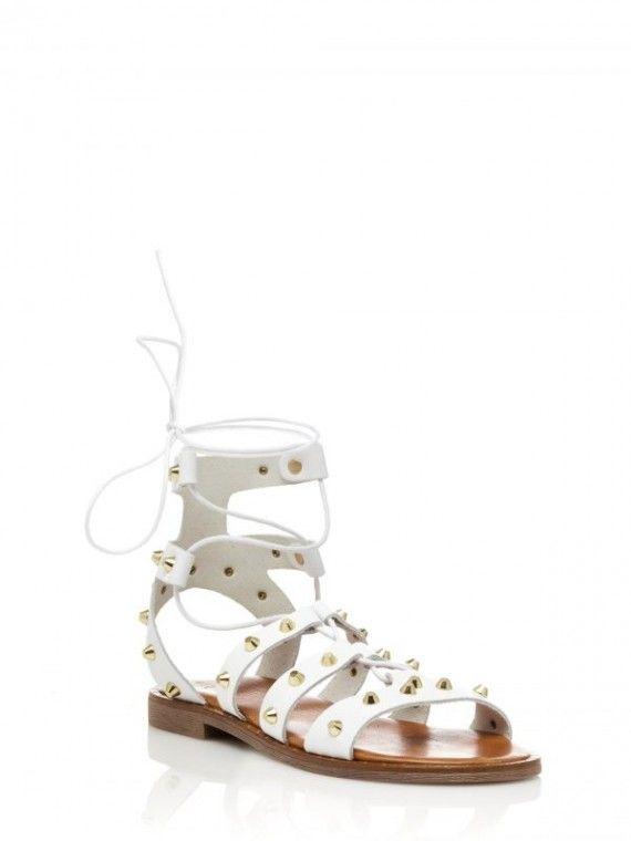 Sandálias Gladiadoras Brancas c/Tachas