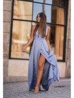 Vestido longo azul/cinza