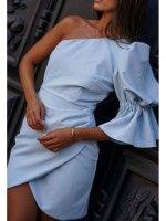 Vestido curto manga abalonada azul-cinza